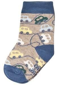 Melton Grey Melange Cars Baby Socks