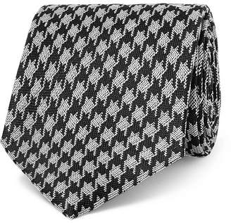 Tom Ford 8cm Dogtooth Silk And Linen-Blend Tie