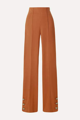 Oscar de la Renta Button-embellished Stretch Wool-blend Twill Straight-leg Pants - Orange