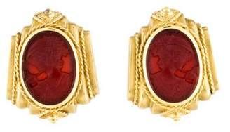 18K Intaglio Carnelian Earrings