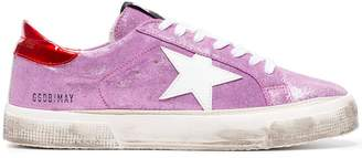 Golden Goose pink May glitter leather sneakers