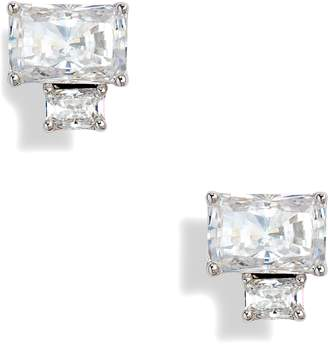 Nadri Baguette Cut Crystal Stud Earrings
