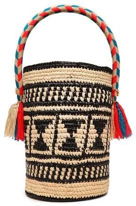 Yosuzi Chika Tasseled Woven Straw Bucket Bag