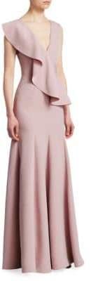 Rachel Gilbert Adeline Deep V-Neck Ruffle A-Line Gown
