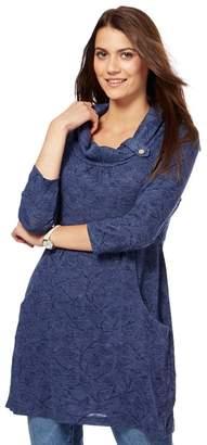 Mantaray Blue Textured Leaf Tunic Top