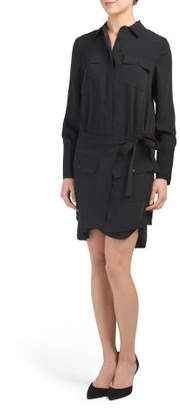 Crepe Shirt Dress With Removable Skirt