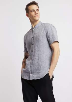 Emporio Armani Short-Sleeved Shirt In Linen Chambray