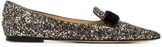Jimmy Choo Gala logo embellished glitter leather slippers