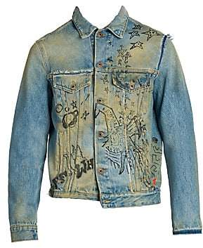 Off-White Men's Wizard Deconstructed Denim Jacket