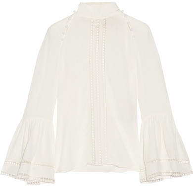 Fendi - Crochet-trimmed Silk Crepe De Chine Blouse - White