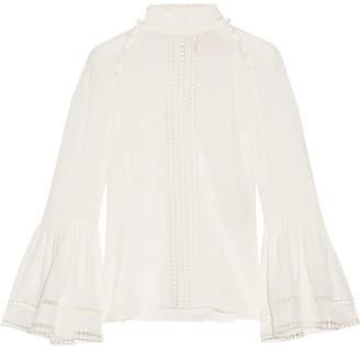 Fendi Crochet-trimmed Silk Crepe De Chine Blouse - White