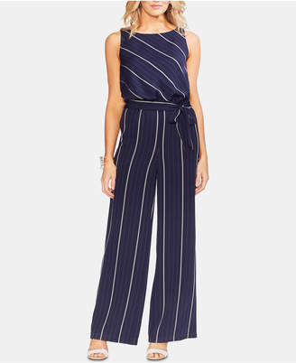 86f66c0a820 Vince Camuto Belted Striped Wide-Leg Jumpsuit