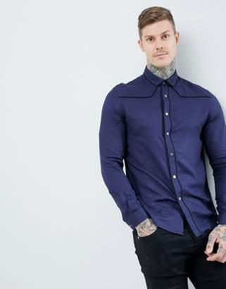 Asos DESIGN regular fit western viscose shirt in navy with poppers