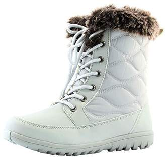 DailyShoes Women's Comfortable Round Toe Flat Ankle High Eskimo Winter Fur Snow Boots