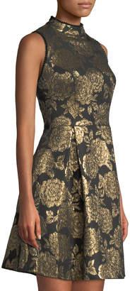 Nanette Lepore Nanette Foiled Jacquard Mock-Neck A-Line Dress