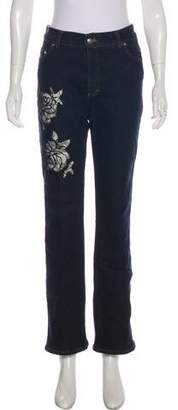 Blumarine Embroidered Mid-Rise Wide-Leg Jeans