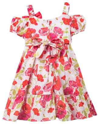 0adce138791c Iris   Ivy Swiss Dot Cold Shoulder Floral Dress   Hat Set (Toddler   Little