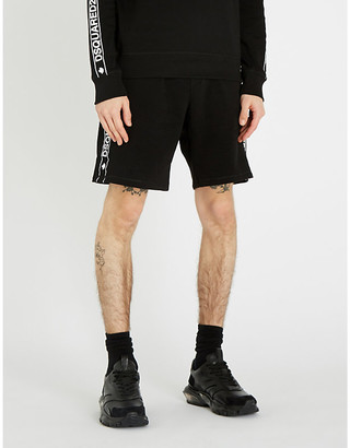DSQUARED2 Logo-tape regular-fit cotton-jersey shorts