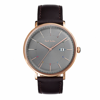 Men's Track Date Leather Strap Watch
