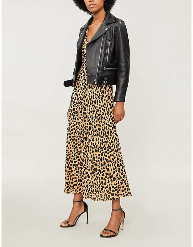 RIXO Katie leopard-print silk-crepe midi dress