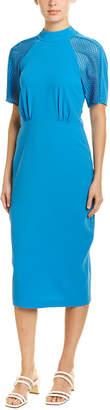 BCBGMAXAZRIA Mesh-Sleeve Midi Dress