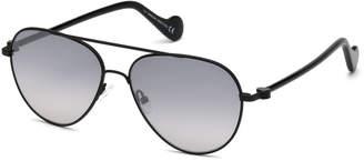 Moncler Men's Metal Gradient Aviator Sunglasses, Black/Gray