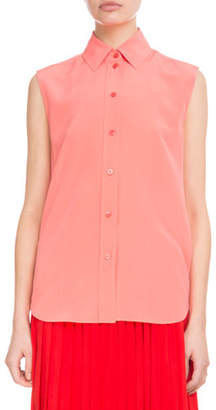 Givenchy Sleeveless Button-Front Silk Crepe de Chine Blouse