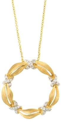 Effy 14k Yellow Gold Diamond Halo Pendant Necklace