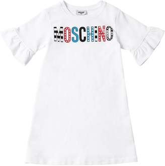 Moschino Logo Print Cotton Sweatshirt Dress