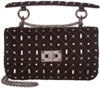 Valentino Rockstud Spike It Small Velvet Shoulder Bag