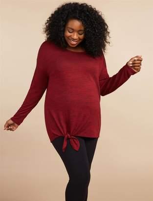 Motherhood Maternity Plus Size Dolman Sleeve Tie Hem Maternity Top
