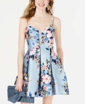 Teeze Me Juniors' Floral-Print Fit & Flare Dress