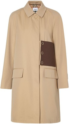 Burberry monogram leather detail gabardine car coat