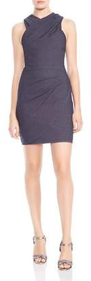 Halston High-Neck Draped Sheath Dress