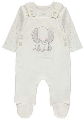 George White Star Bodysuit and Elephant Dungarees Outfit