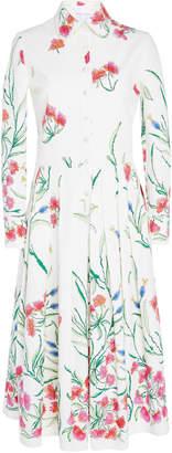 Carolina Herrera Pleated Floral Cotton-Blend Midi Dress
