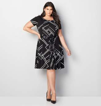 8e986f3a2ed Avenue Plus Size Abstract Stripe Fit And Flare Dress