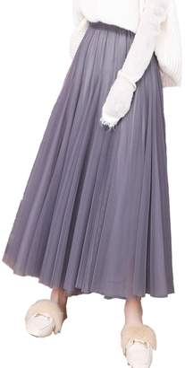 Femirah Women's Elastic Waist A Line Long Tulle Skirt Vintage Petticoat Dress
