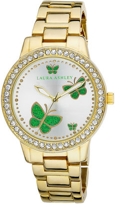 Laura Ashley Ladies Gold Band Green Butterfly Stone Bezel Watch La31015Yg $395 thestylecure.com