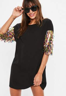 Missguided Black Sequin Sleeve Oversized T Shirt Dress