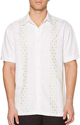 Cubavera Men's Short Sleeve Rayon-Blend Shirt with Embroidered Panels