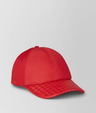 Bottega Veneta CHINA RED COTTON/NAPPA HAT