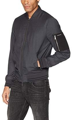 Armani Exchange A|X Men's Bomber Jacket with Zipper and Stripe Detail