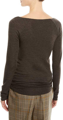 Brunello Cucinelli V-Neck Long-Sleeve Wool Jersey Top w/ Monili Trim