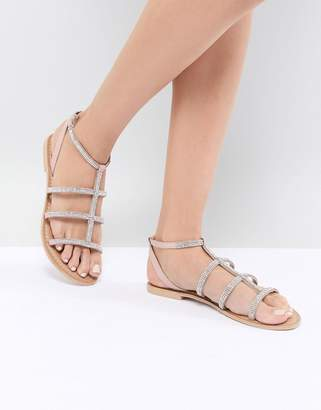 Faith Pyramid Rose Gold Stud Flat Sandals
