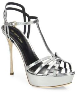 Sergio Rossi Ines Mirrored Leather Platform Sandals