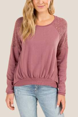 francesca's Melinda Terry Sleeve Sweatshirt - Purple