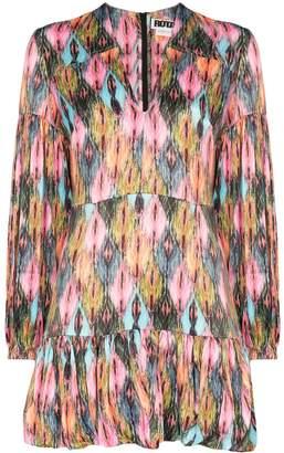 Rotate Harlequin pattern pouf mini dress