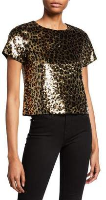 MICHAEL Michael Kors Cheetah Sequin Short-Sleeve Crop Top