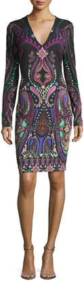 Roberto Cavalli V-Neck Paisley Jersey Dress, Black